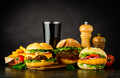 Different Burgers with Cola Fast Food - PhotoDune Item for Sale