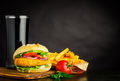 Chickenburger with French Fries and Cola on Copy Space - PhotoDune Item for Sale