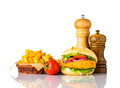 Chickenburger with French Fries and Condiments - PhotoDune Item for Sale