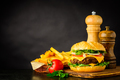 Cheeseburger with French Fries and Copy Space - PhotoDune Item for Sale