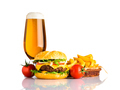 Beer, Cheeseburger and French Fries on White Background - PhotoDune Item for Sale