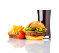 Burger with Cola and French Fries on White Background - PhotoDune Item for Sale
