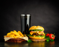 Tasty Looking Cheeseburger with Cola and French Fries - PhotoDune Item for Sale