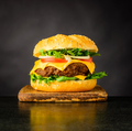 Cheeseburger Sandwich on Dark Background - PhotoDune Item for Sale