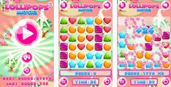 Lollipops Match3 - gra HTML5 + gra mobilna! (Construct 3 | Construct 2 | Capx)