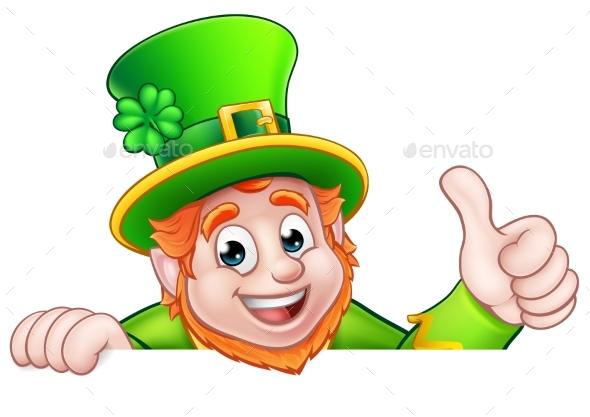 Cartoon St Patricks Day Leprechaun Top of Sign