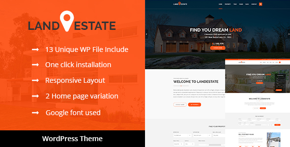 Land Estate - Real Estate/Single Property WordPress Theme