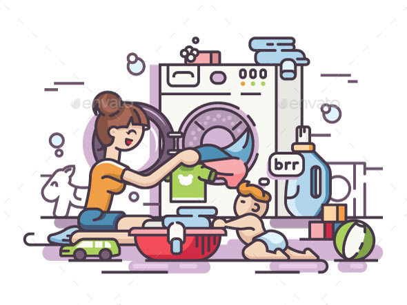 Young Mother Washing