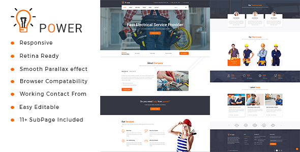 Power : Electrician & Repairing HTML Template