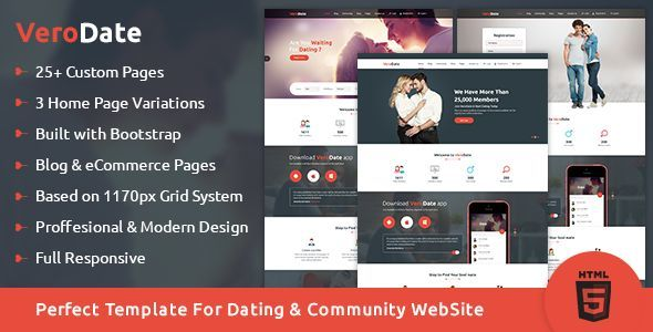 VeroDate - Dating Social Network Website HTML Template
