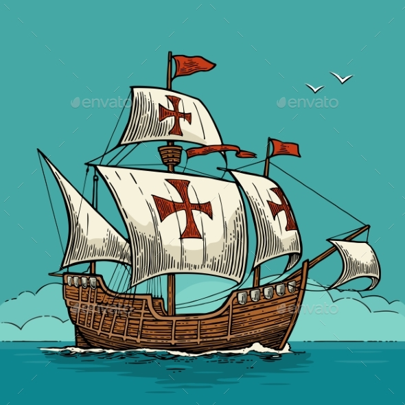 Sailing Ship Floating on the Sea Waves