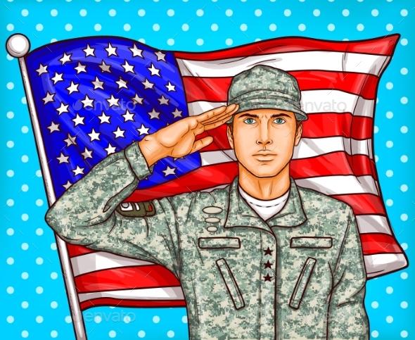 Vector Pop Art Illustration for a Memorial Day