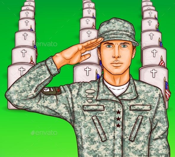 Vector Pop Art Soldier Render Military Salute
