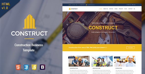 Construct - HTML5 Construction & Business Template