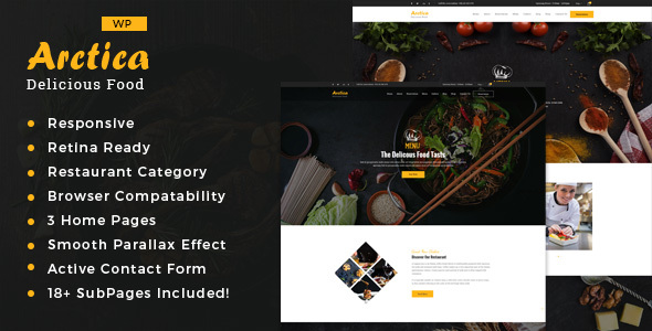 Artica : Restaurant WordPress theme