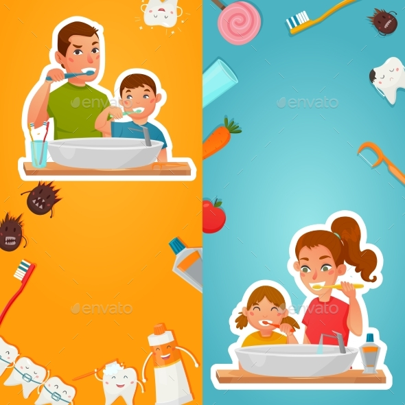 Family Hygiene Of Teeth Vertical Banners