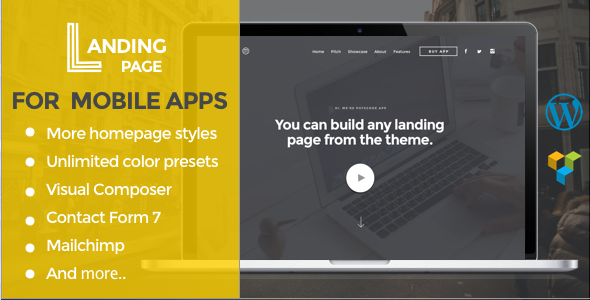 Mobile App Landing Page WordPress Theme