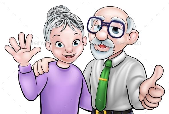 Elderly Cartoon Couple
