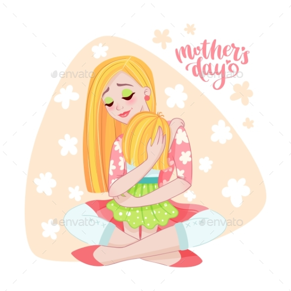 Mothers Day Card with Mom and Her Child
