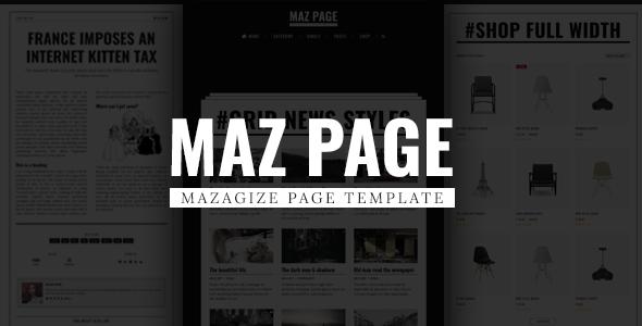 MazPage – Magazine, News, Blog, Shop, Newspaper Template
