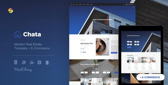 Chata - Modern Real Estate / Architecture Template + E-Commerce