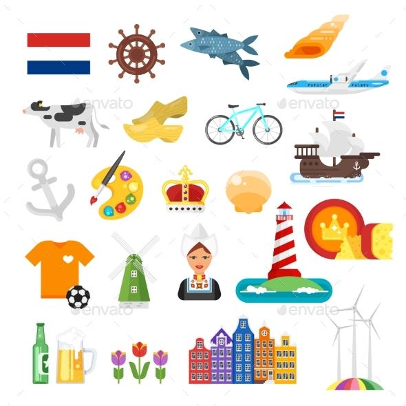 Netherlands National Flat Style Set