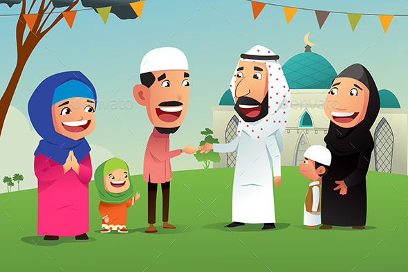 Muslims Celebrating Eid Al Fitr
