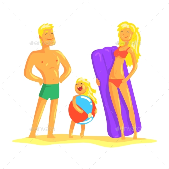 Happy Parents and Their Son Resting on the Beach
