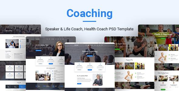 Coaching   Speaker & Life Coach, Health Coach PSD Templates