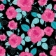 Vector Vintage Pink Roses and Blue Leaves on Black - GraphicRiver Item for Sale