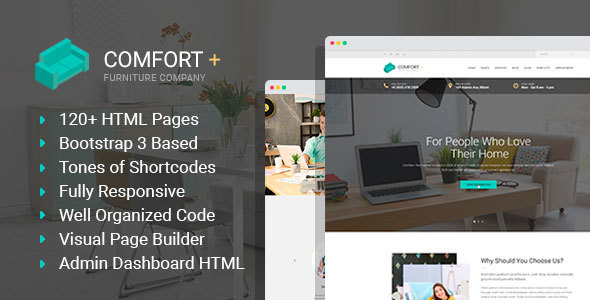 Comfort - Furniture Manufacturing & Interior Design HTML Template with Builder and Admin HTML