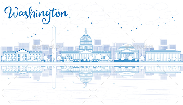 Outline Washington DC City Skyline with Blue Buildings and Reflections.