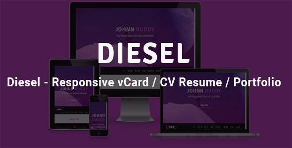 Diesel - Responsive vCard  / CV Resume /  Portfolio