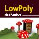 3D lowpoly mushroom Kids room furniture - 3DOcean Item for Sale