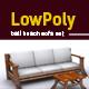 Lowpoly 3D bali beach sofa model - 3DOcean Item for Sale