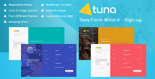 Tuna Form Wizard, Signup, Login, Reservation and Questionnaire
