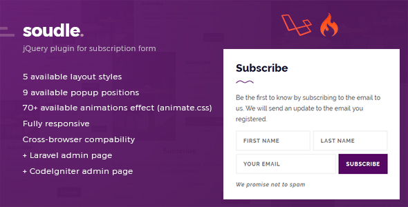 Soudle.js - jQuery Plugin for Subscription Form + Laravel & CodeIgniter Admin Panel Download