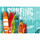 Surfing Retro Poster on Blue Wooden Background - GraphicRiver Item for Sale