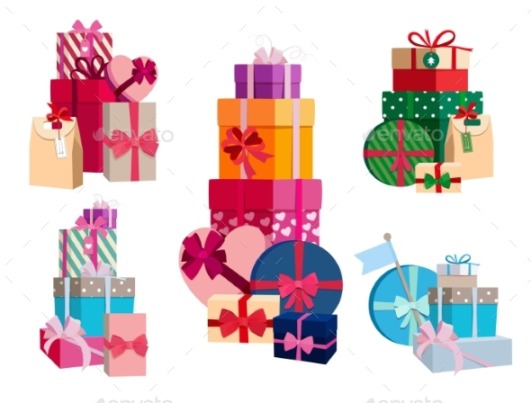 Array of Gifts in Different Colorful Packages