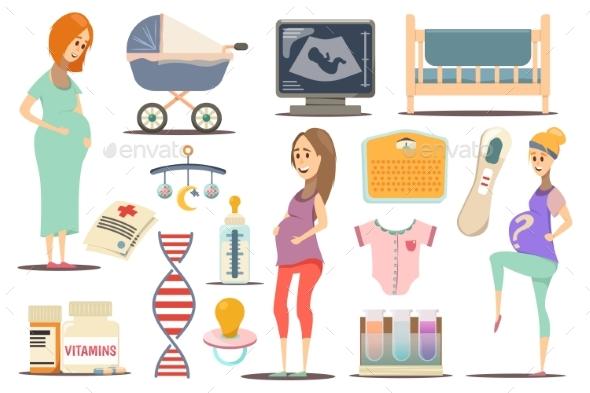 Pregnancy Flat Icon Set