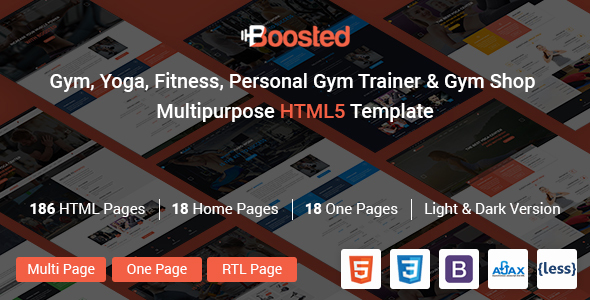 Gym Boosted - gym, Yoga, Fitness, Personal gym Trainer & gym Shop Multipurpose HTML5 Template