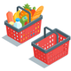 Isometric Red Plastic Shopping Baskets - GraphicRiver Item for Sale