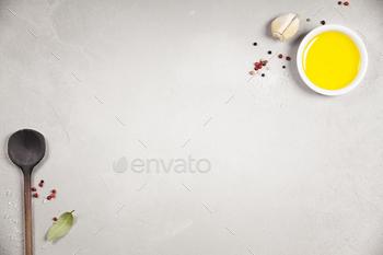 Olive oil, balsamic vinegar, pepper and herbs