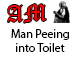 Man Urinating into Toilet