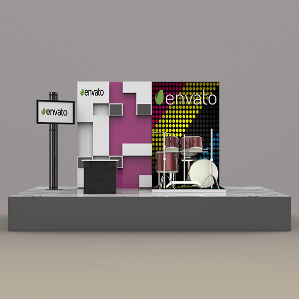 Exhibition Stand 3d Model Free Download : Exhibition case design d composition royalty free vector