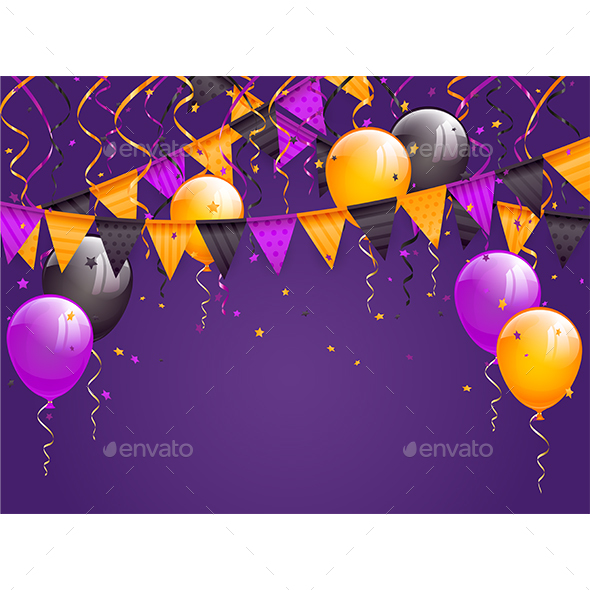 Halloween Pennants and Balloons on Violet Background