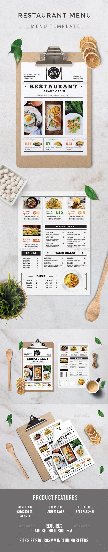 Restaurant Food Menu Graphics Designs Templates