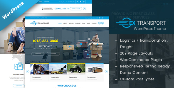 Extransport - Freight, Logistics WordPress theme