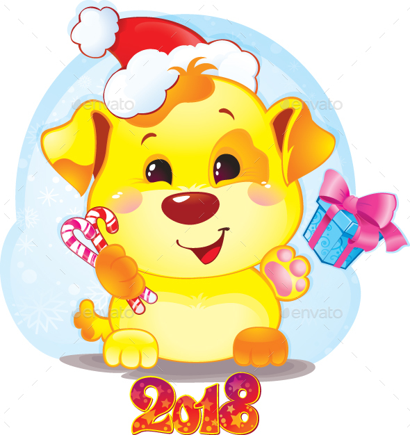 Symbol of Chinese Horoscope - Yellow Dog for New Year 2018