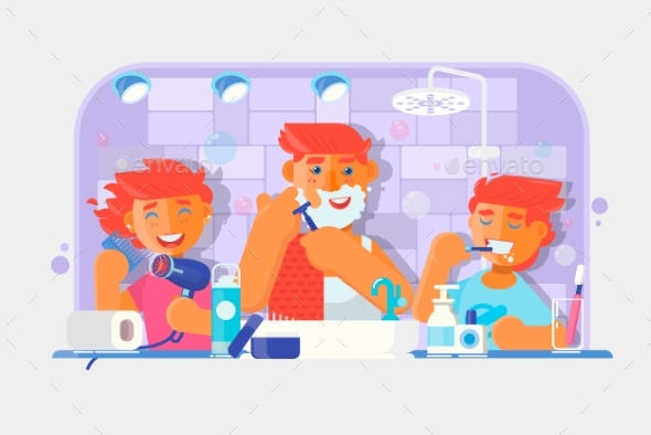 Young Family Brushing Teeth and Shaving